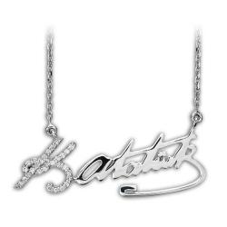 Gümüş Atatürk imzalı kolye taşlı